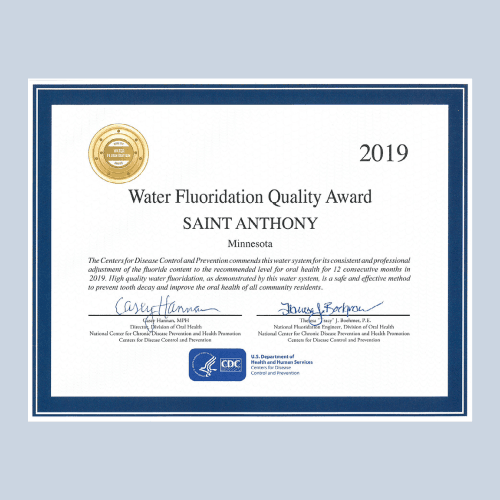 PW website news section_water flouridation quality award