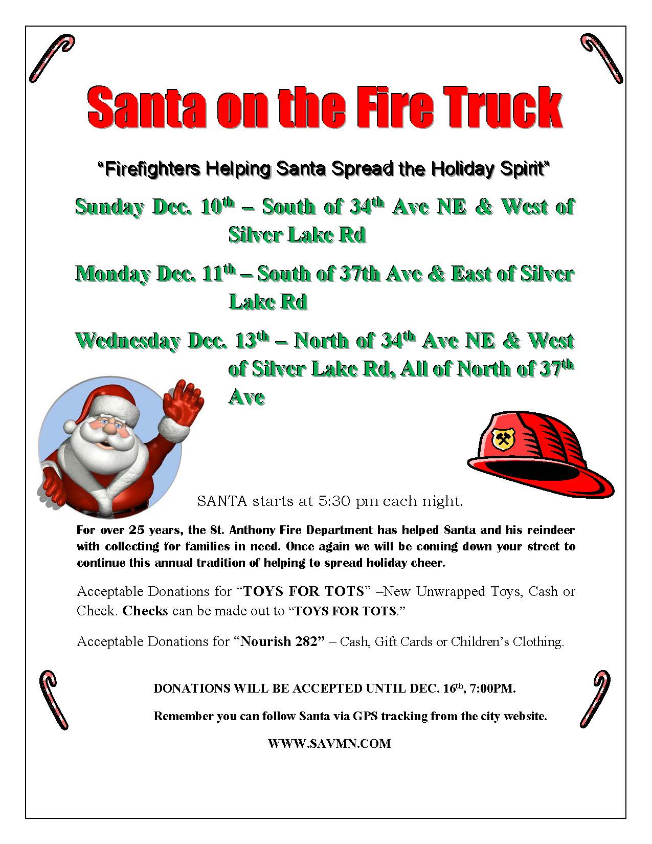 Santa on the Fire Truck FLYER 2017